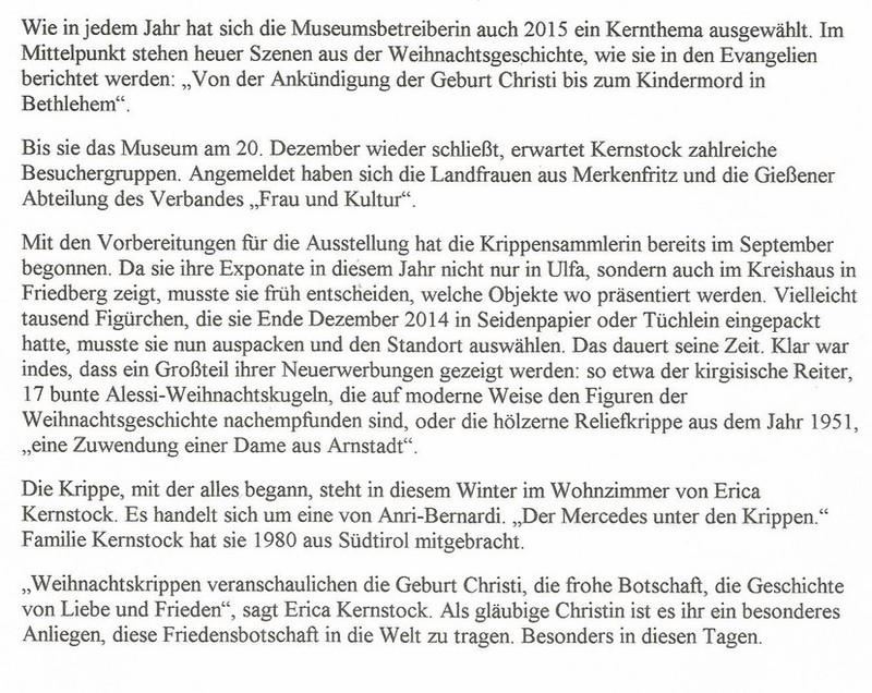 Presse-Spiegel Oberhessisches Weihnachtskrippen-Museum